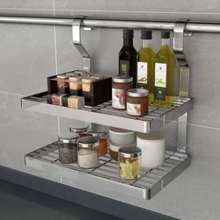 BN Stainless Steel 2 layer kitchen rack shelf can be used with Ikea Grundtal rail