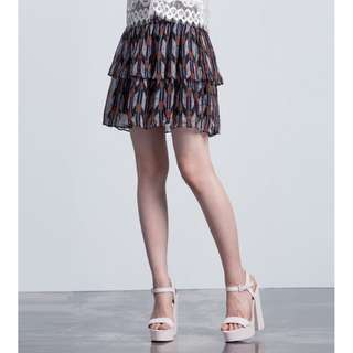 Dark Blue Knee-length Skirt in Abstract Feather Tribal Print