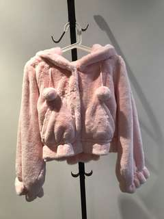 Japan Swankiss baby pink super soft fluffy Cropped Pompom faux fur coat