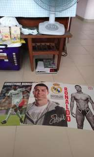 Lot 3 Ronaldo posters magazine Cristiano autograph printed
