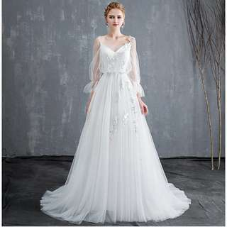 Wedding Collection - Romantic Korean Simple Style Soft Light Ponytail Wedding Gown