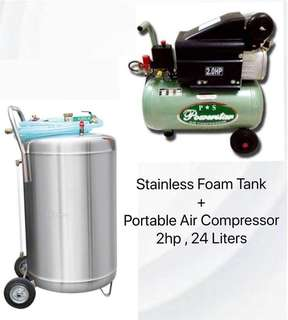 Carwash Essentials Foam tank and Air compressor