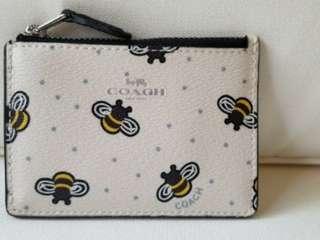 COACH Mini Skinny ID Case Bee Print
