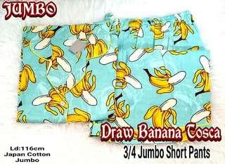 Piyama Short Pants Jumbo Katun Jepang Draw Banana Tosca