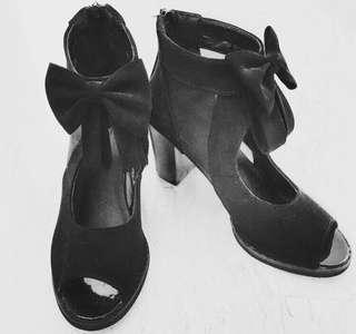 Peep Toe Mesh Heels