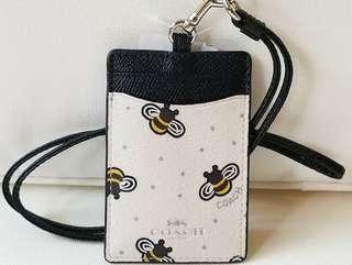 COACH ID Lanyard Bee Print
