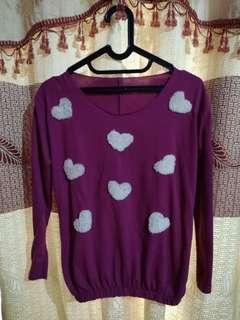 (SALE) Blouse pink love like sweater bwah kerut