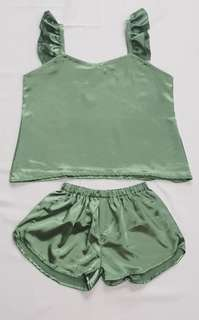 Sierra Ruffle Silk Sleepwear Set (Russian Green)