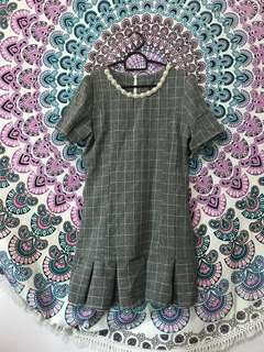 Grid Pearl Collared Dress