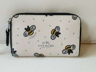 COACH Zipper Coin Case Bee Print