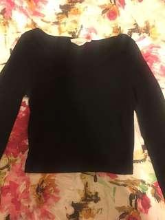 Black Ribbed Long Sleeve V Neck Crop Top