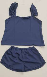 Sierra Ruffle Silk Sleepwear Set (Space Blue)