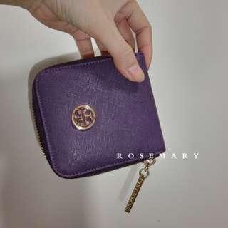 全新 TORY BURCH 真品 十字紋荔枝紋零錢包 小錢包 紫色