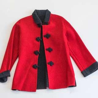 Short Coat , Velvety wool (Colour Red/Black)