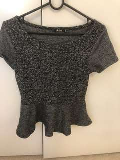 Peplum grey top