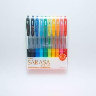 ZEBRA SARASA CLIP 0.3 SET OF 10 PEN PACK