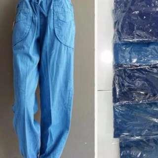 celana joger denim, bawahan panjang perempuan kekinian jeans navy skinny grosir celana wanita murah