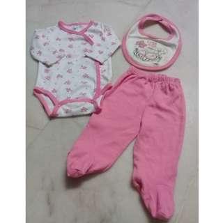 3-6 Months Baby Girl Romper + Pants + Bib