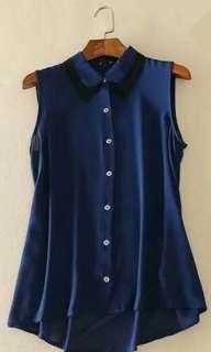 小碼Size S Sample 外國單靚料保藍背心恤衫無袖