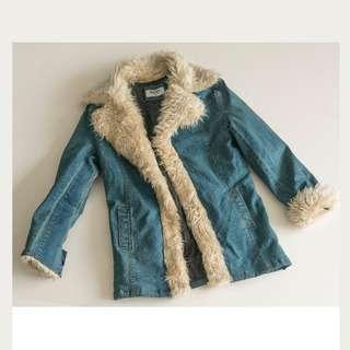 Jacket , SimplyJean, fur lapels (Denim colour)