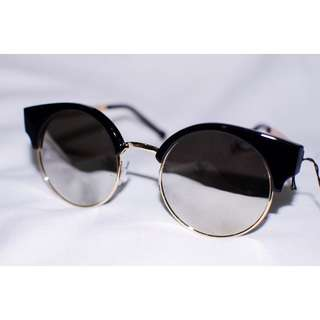 Chic Cat Eye Round Sunnies Sunglasses Half Frame