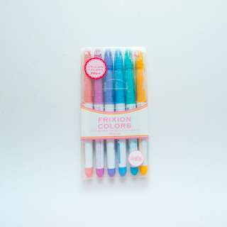 Pilot Frixion Markers Set of 6  (Lavender, Mauve, Coral Pink, Honey Yellow, Emerald Green, Sky Blue)