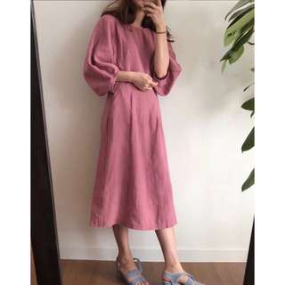 Korean Retro Lantern Sleeve Waist Long Short Sleeve Dress