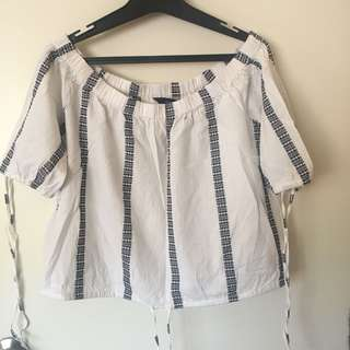 Glassons Bardot drawstring blouse (stripe)