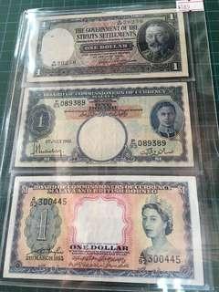 3pc Malaya $1 1935,1941,1953 Banknotes