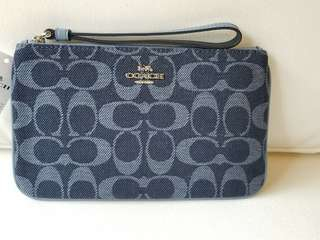 COACH Large Wristlet with Signature Jacquard with Leather Stripe