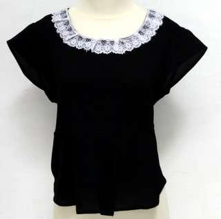 Top blouse warna hitam