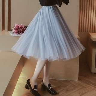 (FREE NM) Light Grey Gauze Tutu Skirt