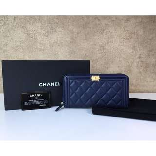 CHANEL A80288 BOY ROUND ZIPPER LONG WALLET