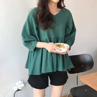 Vintage Lantern Sleeve Loose Baby Shirt V-neck Short Sleeve Shirt