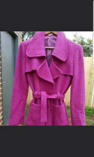 Stunning Hot Pink Wool Winter Coat worn once. fully lined and in perfect condition  size small, would suit size 8-12
