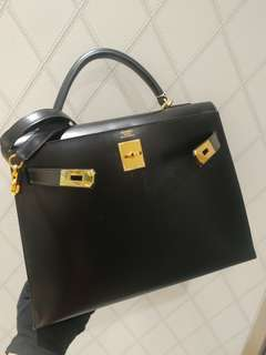 Hermes kelly 32 黑金 double ring