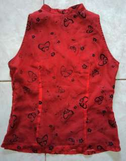 Red Chinese Collared Tops