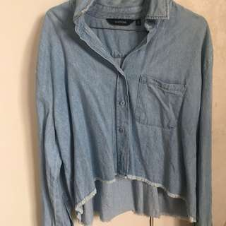 glassons cropped jean shirt