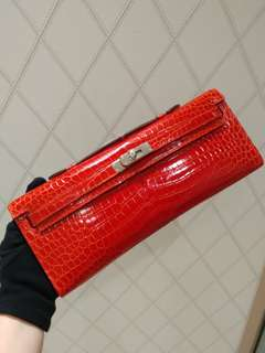 Hermes kelly cut crocodile