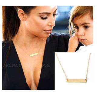 Simple Chain Bar Necklace Gold Pendant