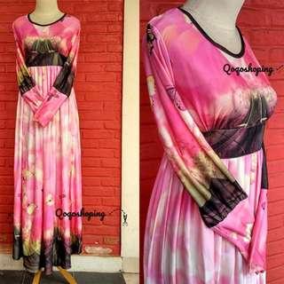Dress Jersey Motif Kupu-kupu