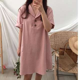 Vintage Naval Collar Two Buttons Loose Cotton Short Sleeve Dress
