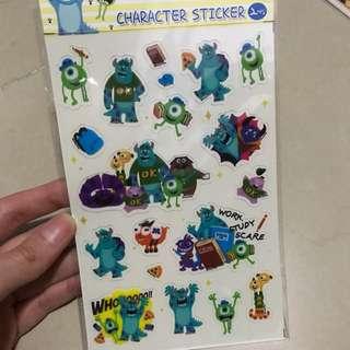 全新 怪獸大學 毛毛 大眼仔 貼紙 Sticker 一包有2張