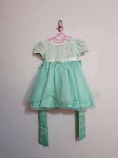 PL good condition satin lace short sleeve princess dress tiffany blue for baby girl toddler size 2