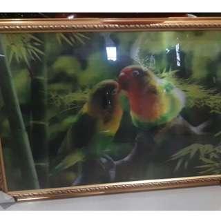 Lukisan 3D burung