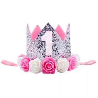 Instock - 1st silver birthday crown, baby infant toddler girl children sweet kid happy abcdefghjkmno