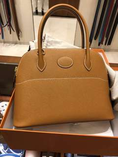 Hermes bolide 27 toffee 金扣