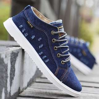 Men's British Style Jean High / Low Cut Lace Up Sneakers Shoes