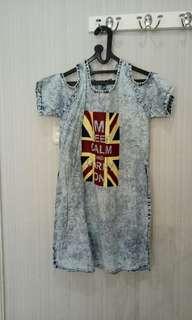 Shoulder Crop Dress 'Keep Calm'