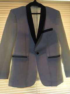 White Suit with Black Collar